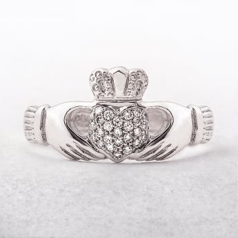 Claddagh Ladies Diamond Set Ring in White Gold