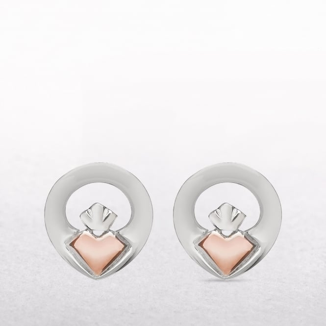 Claddagh Silver & Rose Gold House of Lor Stud Earrings