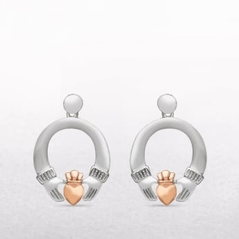 Claddagh Sterling Silver & Rose Gold House of Lor Earrings