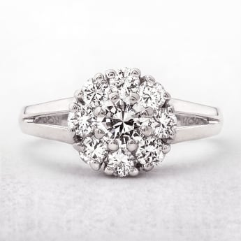 Cluster Diamond Dress Ring 1.20ct in White Gold