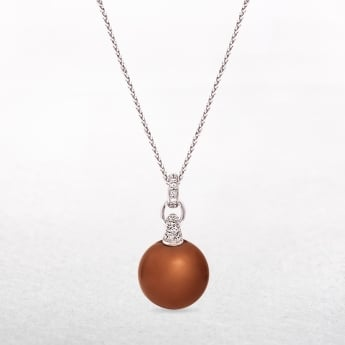 Copper Pearl Pendant with Silver & Cubic Zirconia Setting