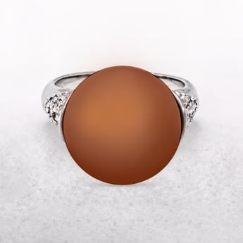 Copper Pearl Ring with Silver & Cubic Zirconia Shoulder Detail