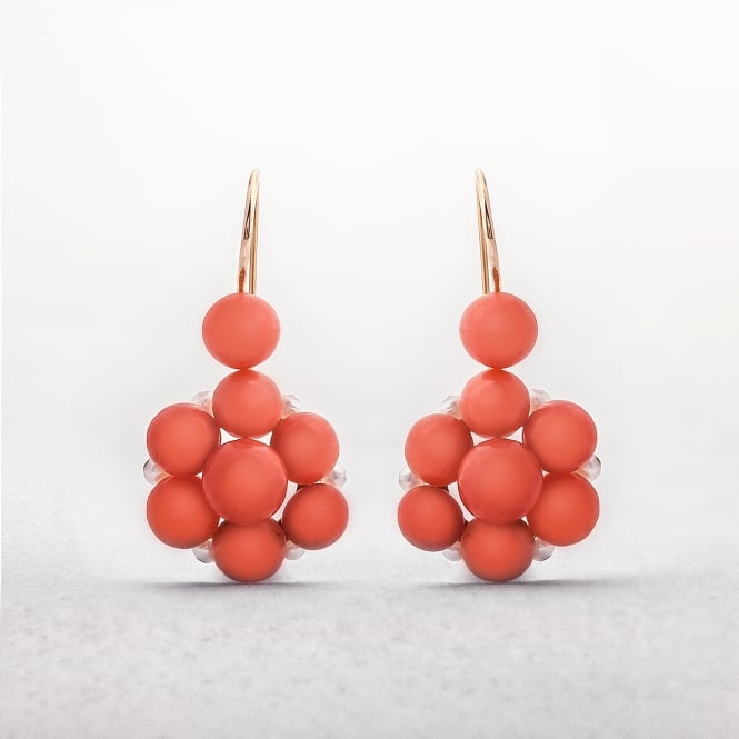 Coral 9ct Gold Seed Pearl Floral Cluster Earrings