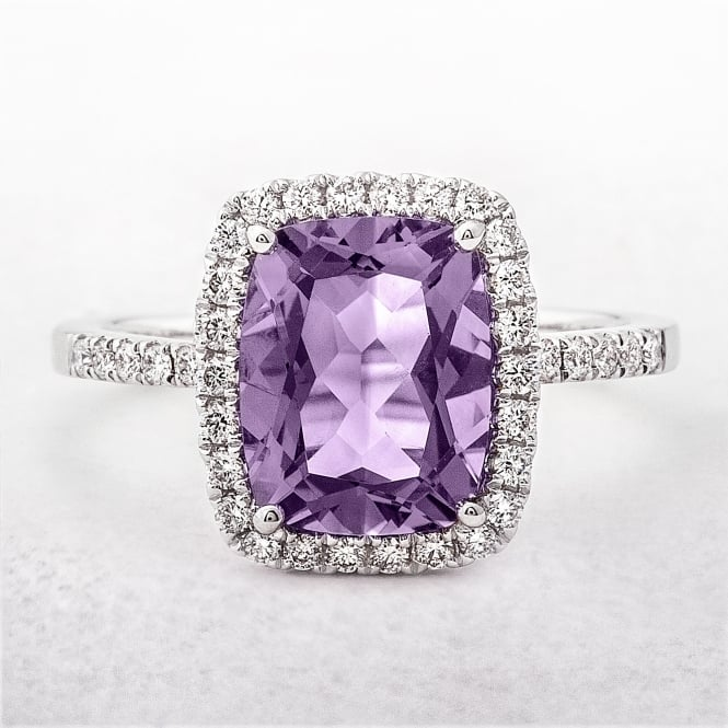 Cushion Amethyst Diamond Dress Ring in White Gold