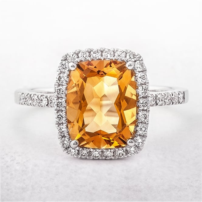 Cushion Citrine Diamond Dress Ring in White Gold