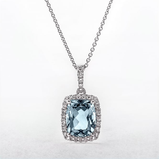 Cushion Topaz & Diamond 18ct White Gold Cluster Pendant
