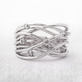 Diamond .19ct Random Set Dress Ring in White Gold