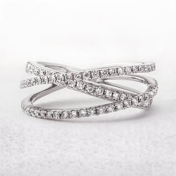 Diamond .54ct Three Row Dress Ring in White Gold