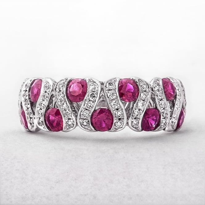 Diamond and Ruby Wavy Dress Ring