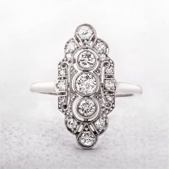 Diamond Art Deco Cluster Ring in Platinum