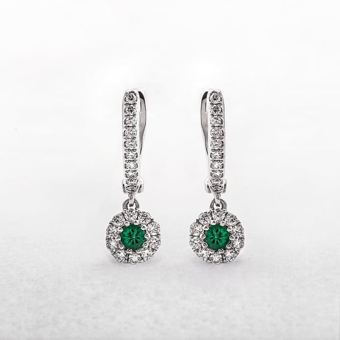 Diamond Emerald Round Drop Earrings in White Gold