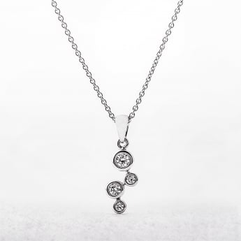 Diamond Four Stone Bezel Set Fancy Pendant in White Gold