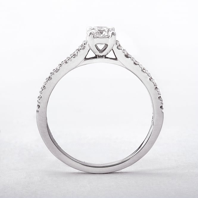 Diamond Round Cut 0.60ct Solitaire Ring With Castel Band
