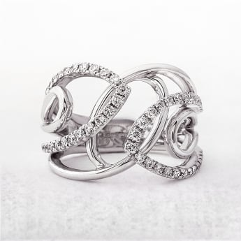 Diamond Set .54ct Fancy Dress Ring in White Gold