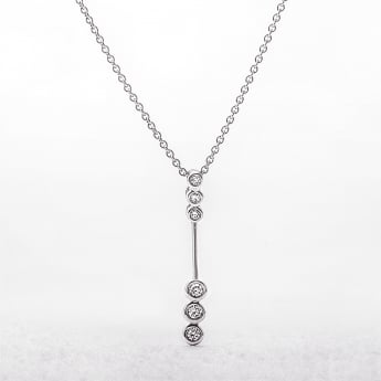 Diamond Six Stone Bezel Set Drop Pendant in White Gold