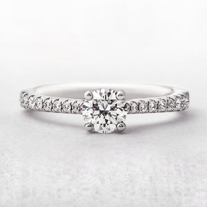 Diamond Solitaire Round Cut Ring with Castel Set Band