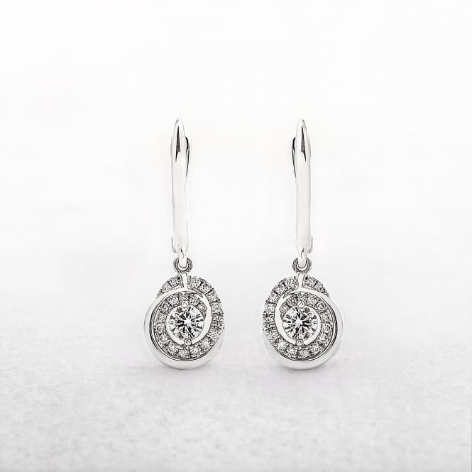 Diamond Spiral Earrings Drop Style in White Gold
