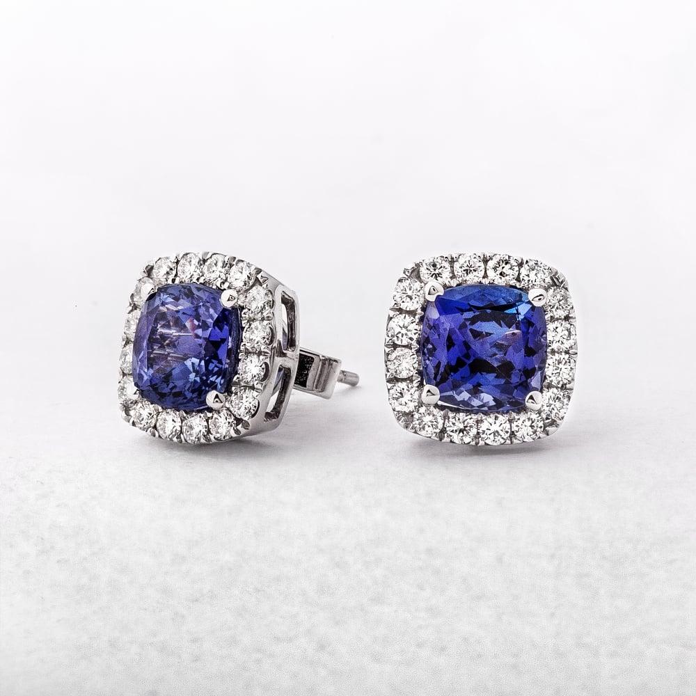 Diamond Tanzanite Stud Earrings