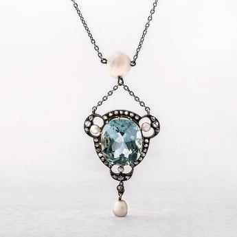 Edwardian Aquamarine, Diamond & Pearl Platinum Pendant