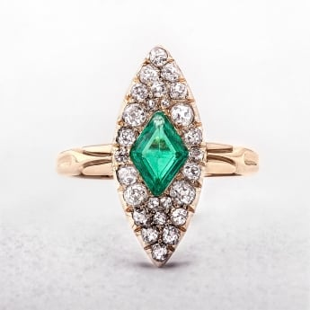 Emerald and Diamond Antique Navette Cluster Ring