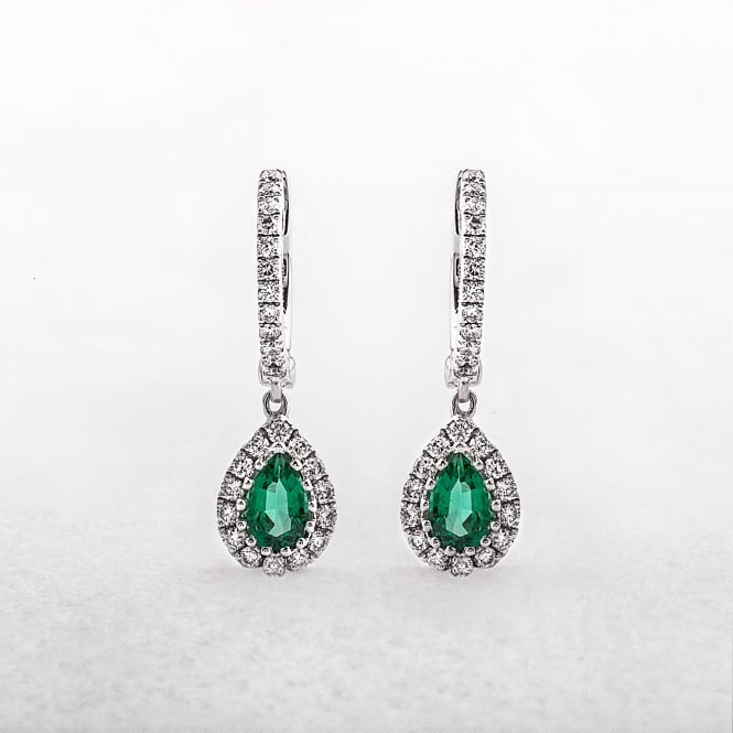 Emerald and Diamond Hoop Drop Earrings in White Gold