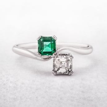 Emerald and Diamond Moi et Toi Platinum Ring