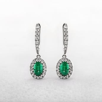 Emerald and Diamond Oval Drop Earrings in White Gold