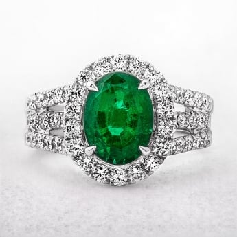 Emerald and Diamond Ring With Triple Row Diamond Band