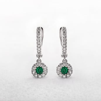 Emerald and Diamond Round Drop Earrings in White Gold