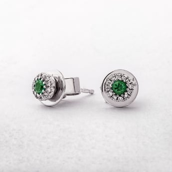 Emerald and Diamond Round Stud Earrings in White Gold