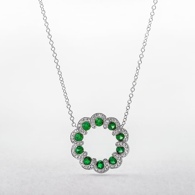 Emerald and Diamond Wreath Style Circle Pendant in White Gold