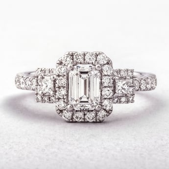 Emerald and Princess Cut Halo Style Diamond Ring