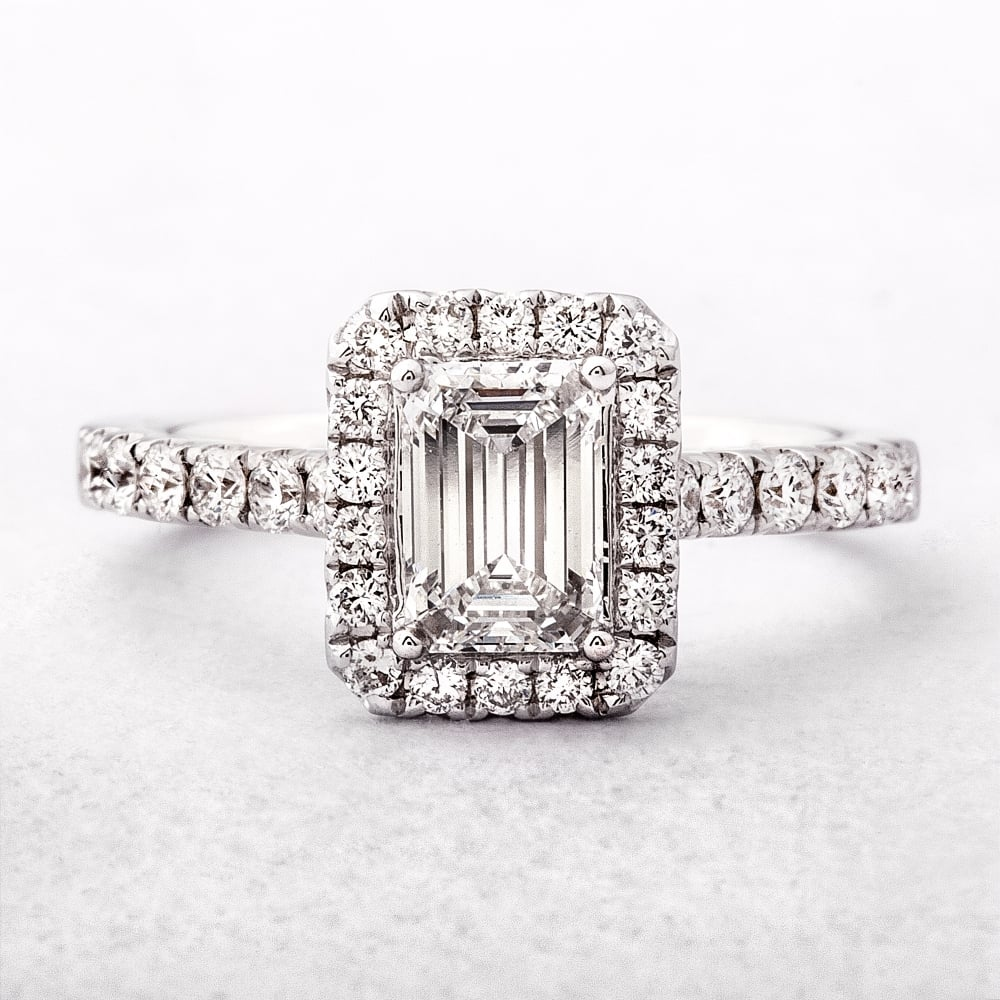 emerald cut halo style engagement ring