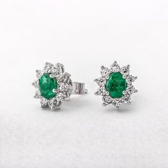 Emerald & Diamond 18ct White Gold Oval Earrings