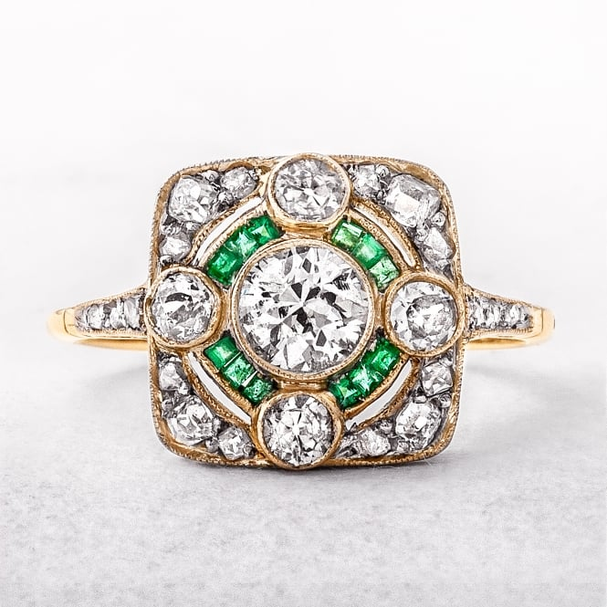 Emerald & Diamond Art Deco Target Ring
