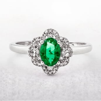 Emerald & Diamond Flower Cluster 18ct Gold Ring
