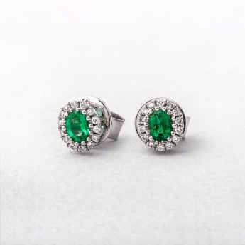 Emerald & Diamond Oval Cluster Stud Earrings in White Gold