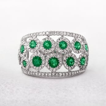 Emerald & Diamond Two Row 18ct Dress Ring