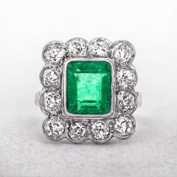 Emerald & Diamond Vintage Platinum Cluster Ring