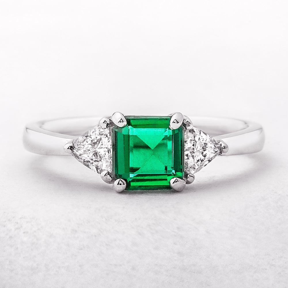 emerald ring and three emeralddiamond white gold diamond stone