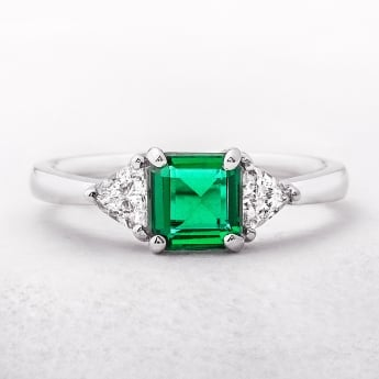 Emerald & Diamond White Gold Three Stone Ring