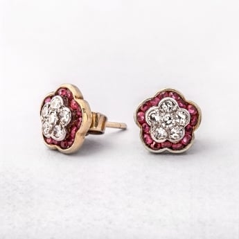 Floral Yellow Gold Ruby & Diamond Cluster Studs