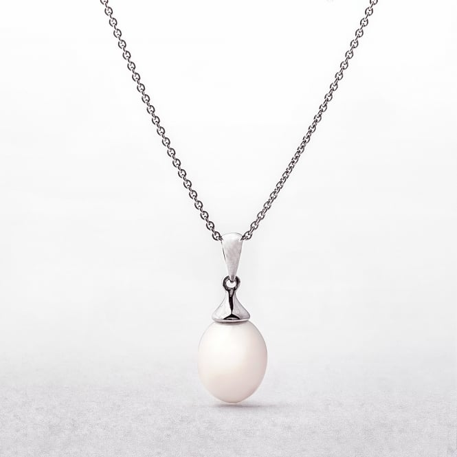 Freshwater Drop Pearl With Silver Bail Pendant