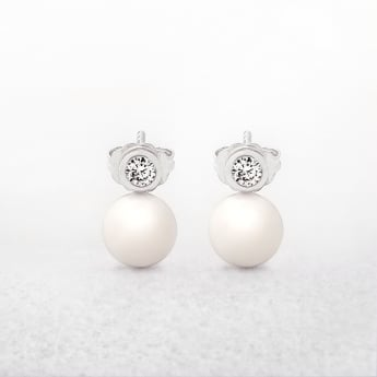 Freshwater Pearl & Cubic Zircona Stud Earrings