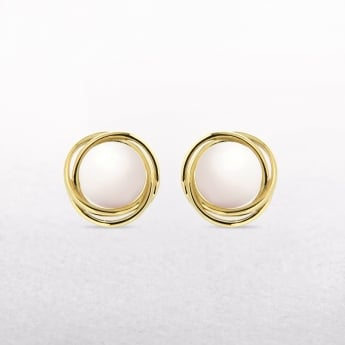 Freshwater Pearl Curved Shape Stud Earrings