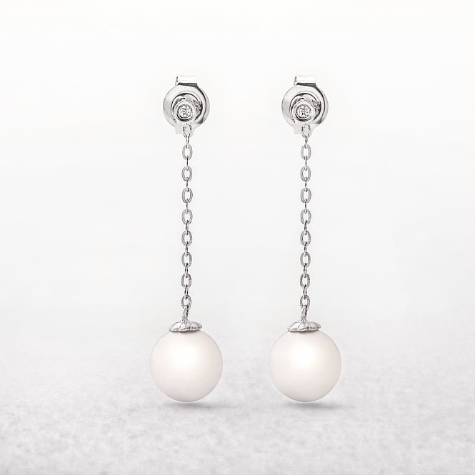 Freshwater Pearl & Diamond 9ct Drop Link Earrings