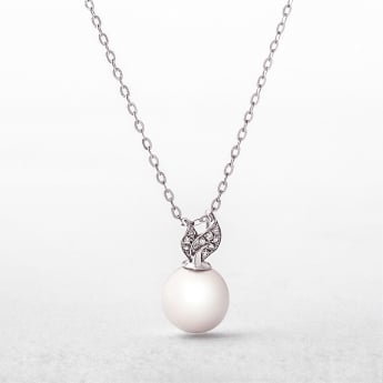 Freshwater Pearl & Diamond 9ct White Gold Pendant