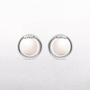 Freshwater Pearl & Diamond Stud Earrings