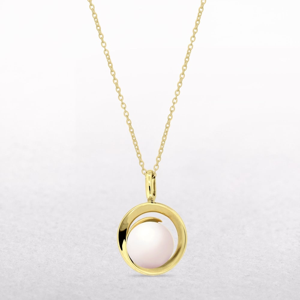 Pearl yellow 9ct gold pendant freshwater pearl yellow 9ct gold pendant mozeypictures Gallery
