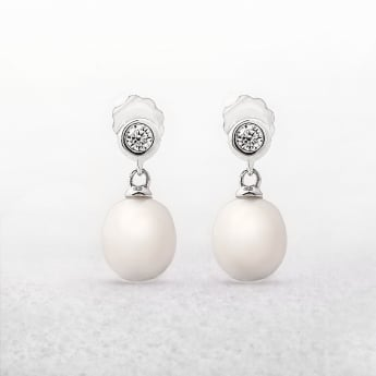 Freshwater Pearls & Cubic Zircona Drop Earrings